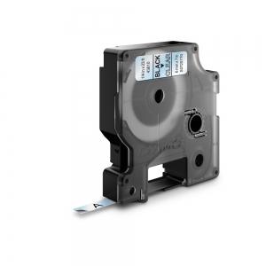 Etichete autocolante, DYMO LabelManager D1, 6mm x 7m, negru/transparent, 43610, S07207700