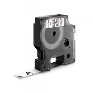 Banda D1 12 mm x 3,5 m, negru / alb, nylon flexibil, DYMO cod DY 16957