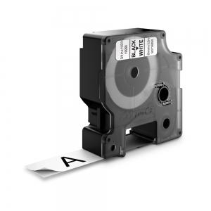 Banda D1 19 mm x 3,5 m, negru / alb, nylon flexibil, DYMO cod DY 16958