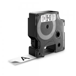 Banda D1 19 mm x 5,5 m, negru / alb, poliester permanent, DYMO cod DY 16960