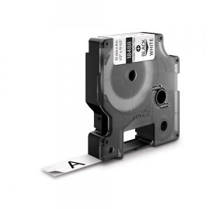 Etichete industriale autocolante, DYMO ID1, nailon flexibil, 12mm x 3.5m, negru/alb, 18488 S07181000