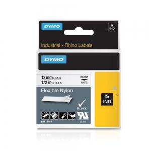 Etichete industriale autocolante, DYMO ID1, nailon flexibil, 12mm x 3.5m, negru/alb, 18488 S07181007