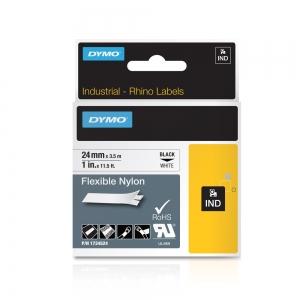 Etichete industriale autocolante, DYMO ID1, nailon flexibil, 24mm x 3.5m, negru/alb, 1734524 S07738404