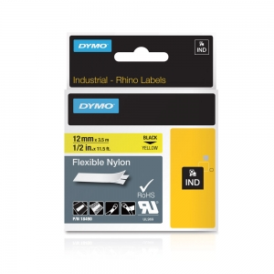 Etichete industriale autocolante, DYMO ID1, nailon flexibil, 12mm x 3.5m, negru/galben, 184904