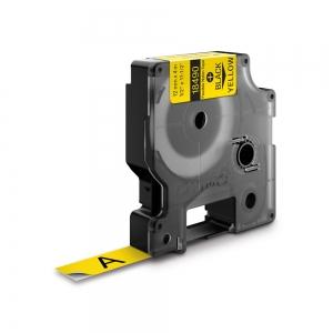 Etichete industriale autocolante, DYMO ID1, nailon flexibil, 12mm x 3.5m, negru/galben, 184900