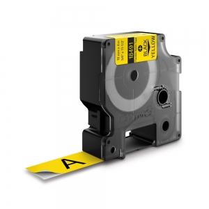 Etichete industriale autocolante, DYMO ID1, nailon flexibil, 19mm x 3.5m, negru/galben, 184910