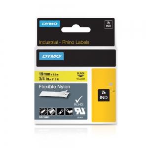 Etichete industriale autocolante, DYMO ID1, nailon flexibil, 19mm x 3.5m, negru/galben, 184914