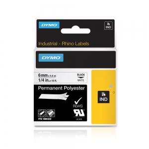 Etichete industriale autocolante, DYMO ID1, poliester permanent, 6mm x 5.5m, negru/alb, 18054426