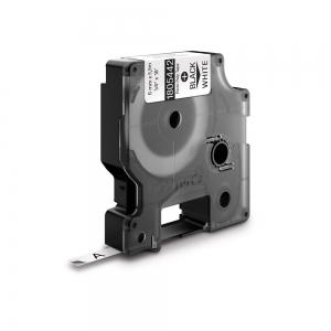 Etichete industriale autocolante, DYMO ID1, poliester permanent, 6mm x 5.5m, negru/alb, 18054420