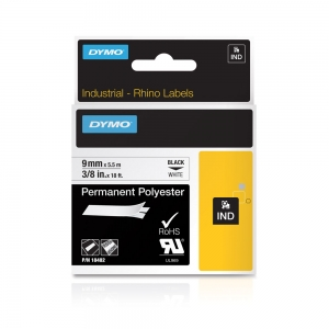 DYMO industrial ID1 polyester permanent labels, 9mm x 5.5m, black on white, 184824