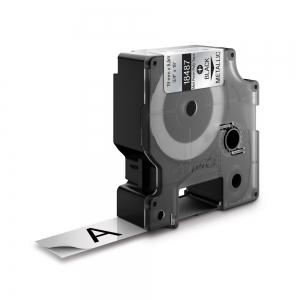 Etichete industriale autocolante, DYMO ID1, poliester permanent, 19mm x 5.5m, negru/argintiu metalizat, 18487 S07182000