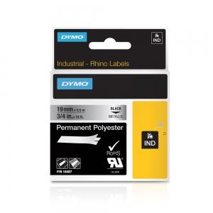 Etichete industriale autocolante, DYMO ID1, poliester permanent, 19mm x 5.5m, negru/argintiu metalizat, 18487 S07182004