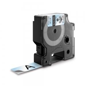 Etichete industriale autocolante, DYMO ID1, poliester permanent, 19mm x 5.5m, negru/transparent, 6222900