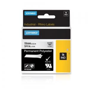 Etichete industriale autocolante, DYMO ID1, poliester permanent, 19mm x 5.5m, negru/transparent, 6222904