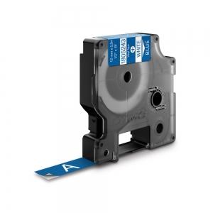 Etichete industriale autocolante, DYMO ID1 vinil, 12mm x 5.5m, alb/albastru, 18052430