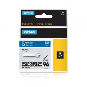 Etichete industriale autocolante, DYMO ID1 vinil, 12mm x 5.5m, alb/albastru, 18052434