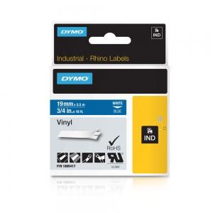 Etichete industriale autocolante, DYMO ID1 vinil, 19mm x 5.5m, alb/albastru, 18054173