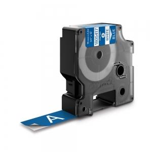 Etichete industriale autocolante, DYMO ID1 vinil, 19mm x 5.5m, alb/albastru, 18054170