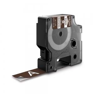 Etichete industriale autocolante, DYMO ID1 vinil, 19mm x 5.5m, alb/maro, 18054180