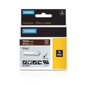 Etichete industriale autocolante, DYMO ID1 vinil, 19mm x 5.5m, alb/maro, 18054182