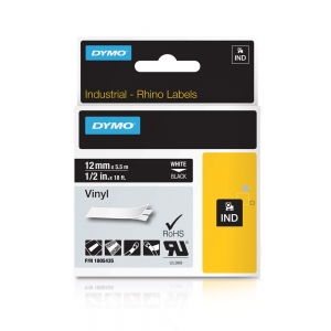 Etichete industriale autocolante, DYMO ID1 vinil, 12mm x 5.5m, alb/negru, 18054355