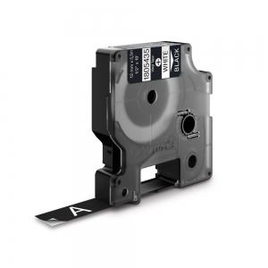 Etichete industriale autocolante, DYMO ID1 vinil, 12mm x 5.5m, alb/negru, 18054350