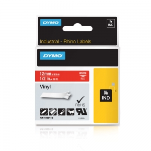 Etichete industriale autocolante, DYMO ID1 vinil, 12mm x 5.5m, alb/rosu, 18054164
