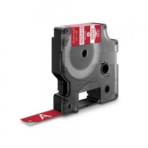 Etichete industriale autocolante, DYMO ID1 vinil, 12mm x 5.5m, alb/rosu, 18054160