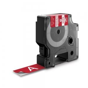 Etichete industriale autocolante, DYMO ID1 vinil, 19mm x 5.5m, alb/rosu, 18054220