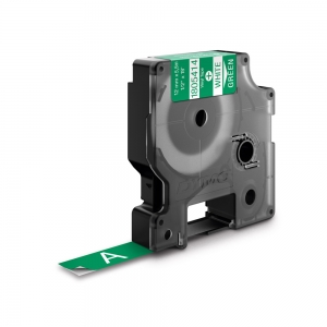 Etichete industriale autocolante, DYMO ID1 vinil, 12mm x 5.5m, alb/verde, 18054140