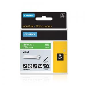 Etichete industriale autocolante, DYMO ID1 vinil, 12mm x 5.5m, alb/verde, 18054141