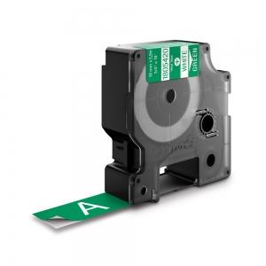 Etichete industriale autocolante, DYMO ID1 vinil, 19mm x 5.5m, alb/verde, 18054200