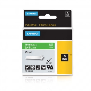 Etichete industriale autocolante, DYMO ID1 vinil, 19mm x 5.5m, alb/verde, 18054205