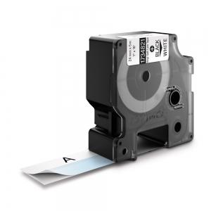 Etichete industriale autocolante, DYMO ID1 vinil autolaminante, 24mm x 5.5m, negru/alb, 17348210