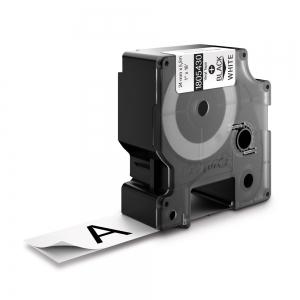 Etichete industriale autocolante, DYMO ID1 vinil, 24mm x 5.5m, negru/alb, 18054300