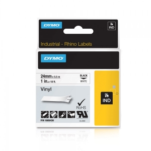 Etichete industriale autocolante, DYMO ID1 vinil, 24mm x 5.5m, negru/alb, 18054307