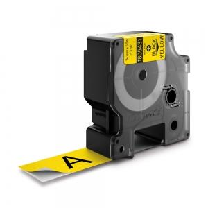 Etichete industriale autocolante, DYMO ID1 vinil, 24mm x 5.5m, negru/galben, 18054310