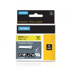 Etichete industriale autocolante, DYMO ID1, nailon flexibil, 24mm x 3.5m, negru/galben, 1734525 S07738504