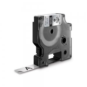Etichete industriale autocolante, DYMO ID1, poliester permanent, 12mm x 5.5m, negru/argintiu metalizat, 184860