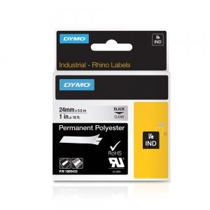 Etichete industriale autocolante, DYMO ID1, poliester permanent, 24mm x 5.5m, negru/transparent, 18054334