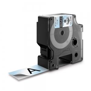 Etichete industriale autocolante, DYMO ID1, poliester permanent, 24mm x 5.5m, negru/transparent, 18054330