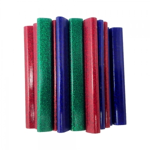 Rapid Oval Low temp Glue Stick Coloured,9mmx94mm, sclipici red, blue, gren, 125g, blister0