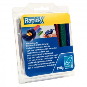 Rapid Oval Low temp Glue Stick Coloured,9mmx94mm, sclipici red, blue, gren, 125g, blister8