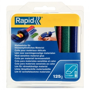 Rapid Oval Low temp Glue Stick Coloured,9mmx94mm, sclipici red, blue, gren, 125g, blister7
