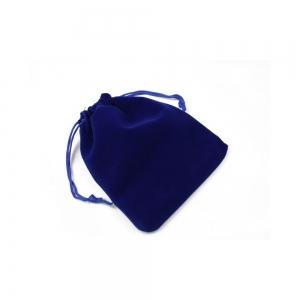 Saculet textil pentru cadouri din catifea cu snur, albastru, 12 x 14 cm0