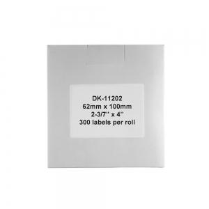 Etichete termice autocolante de transport compatibile, Brother DK-11202, hartie alba, permanente, 62mmx100mm, 300 etichete/rola, suport din plastic inclus DK11202-C3