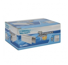 Capse Rapid 28/9 mm, galvanizate alb, divergente, 5x1.000/ cutie0
