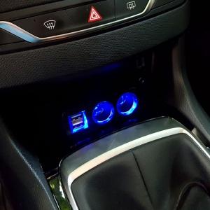 Adaptor spliter auto Olesson, 2 cai fixe + 2 USB, iluminate LED, 16371