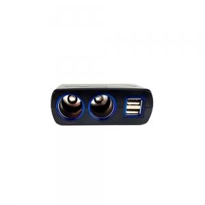 Adaptor spliter auto Olesson, 2 cai fixe + 2 USB, iluminate LED, 16373
