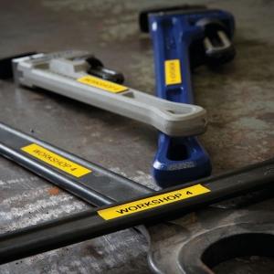 Etichete industriale autocolante compatibile, DYMO ID1, nailon flexibil, 12mm x 3.5m, negru/galben, 18490 18490-C1
